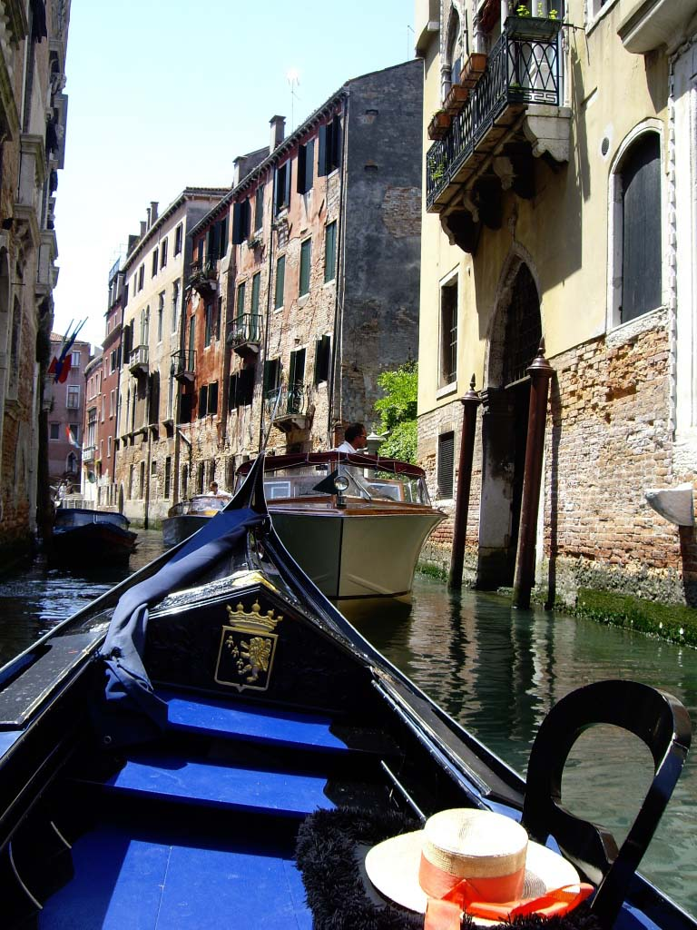 View from a gondola of one of the countless canals in Venice.