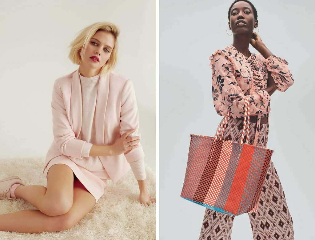 Two images models wearing pink outfits. Left image by Dorothy Perkins. Right image by House of Fraser.
