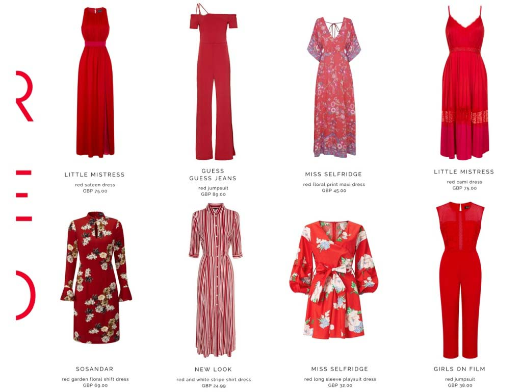 A collection of red dresses.