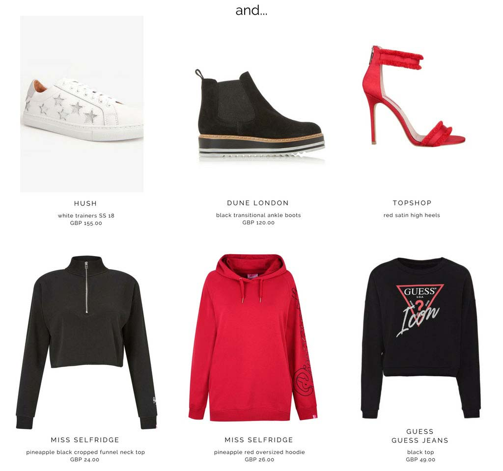 Track pants look great with trainers, ankle boots or even high heel sandals, cropped tops, oversized hoodies and sweats with logos. Images by Hush, Dune London, Topshop, Miss Selfridge and GUESS Jeans.