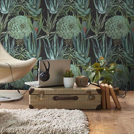 What a great motif: succulents. This wallpaper is super. Image by MindtheGap