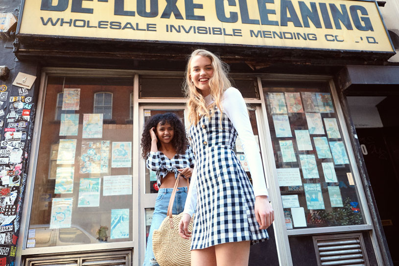 How cute is the gingham dress and top the two pretty models are wearing. Image by Miss Selfridge