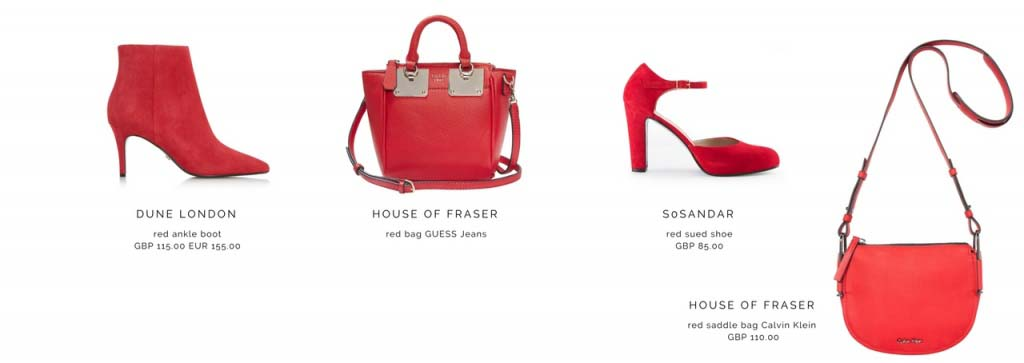 Red shoes and bags.