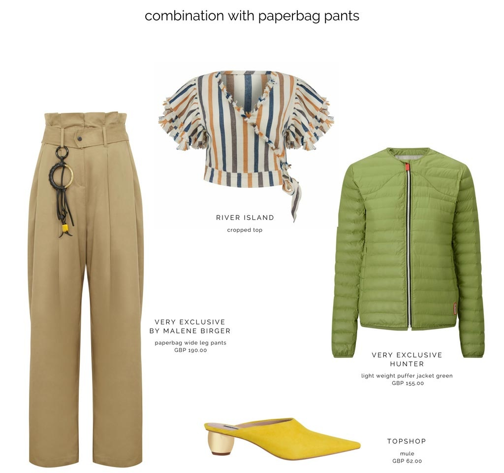 A fab combo with beige paperbag pants, a striped cropped top, a yellow mule and a green jacket. Images as denoted.