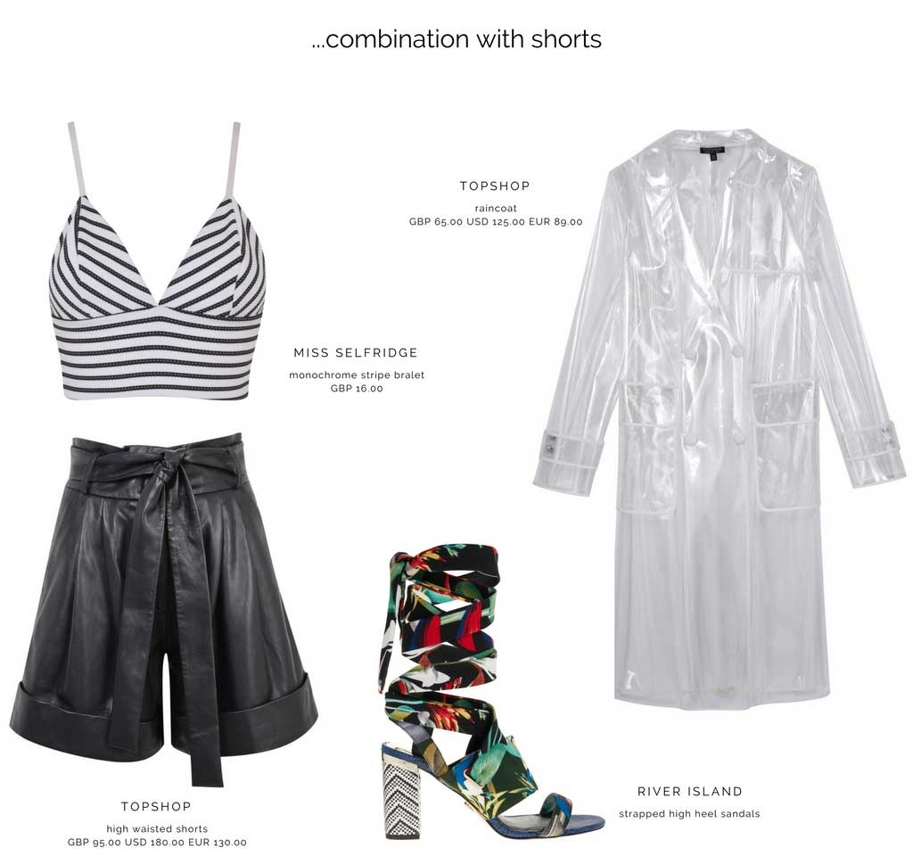 A funky combo with a stripe bralet, black faux leather high waisted shorts, stapped high heel sandals and a clear raincoat. Images as denoted.