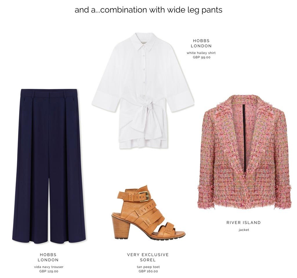 Another fab combo with a high waisted wide leg trouser, a white shirt, a pink jacket and a tan peep toe shoe. Images as denoted.