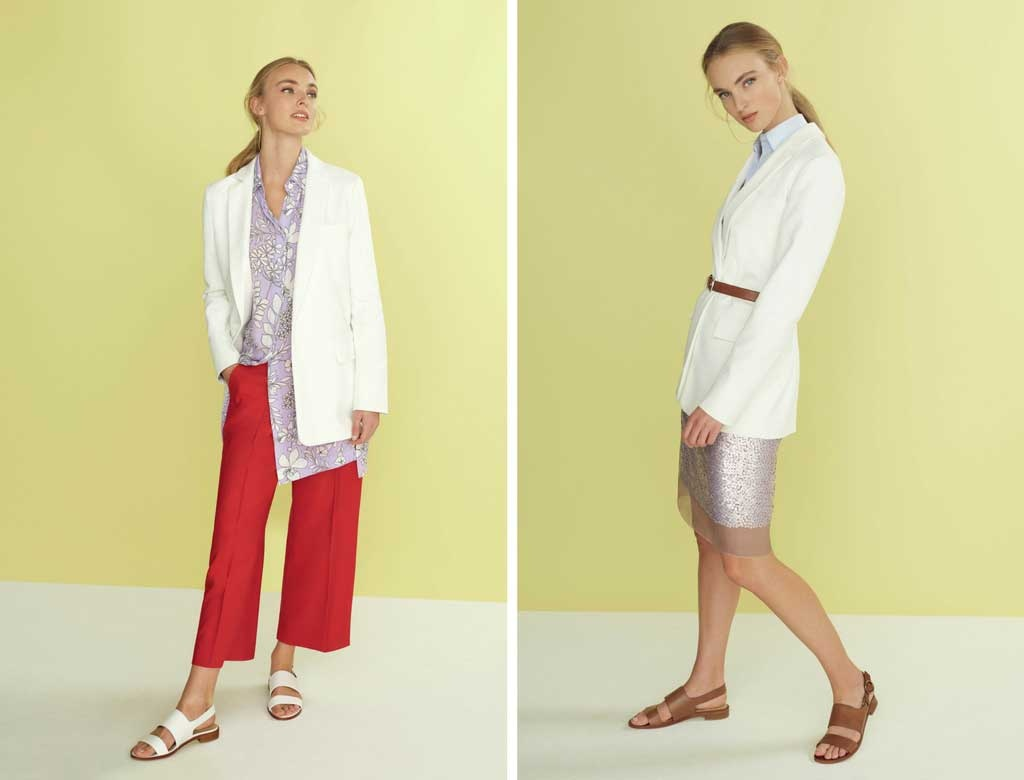 On the left a more casual approach with red culottes, white blazer and a print purple shirt worn by a young blonde model. But on the right, a preppy approach with a white blazer, light blue shirt, tan leather belt around the blazers waist and a skirt just over the knee. Images by Hobbs.