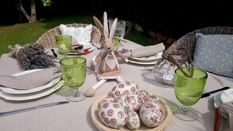 Another close up of the Easter decor found on the outdoor dining setup.