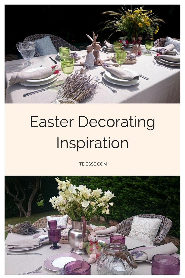 A pinterest graphic with two images from each tablescape, titled as Easter Decorating Inspiration so that you can refer back to it later.