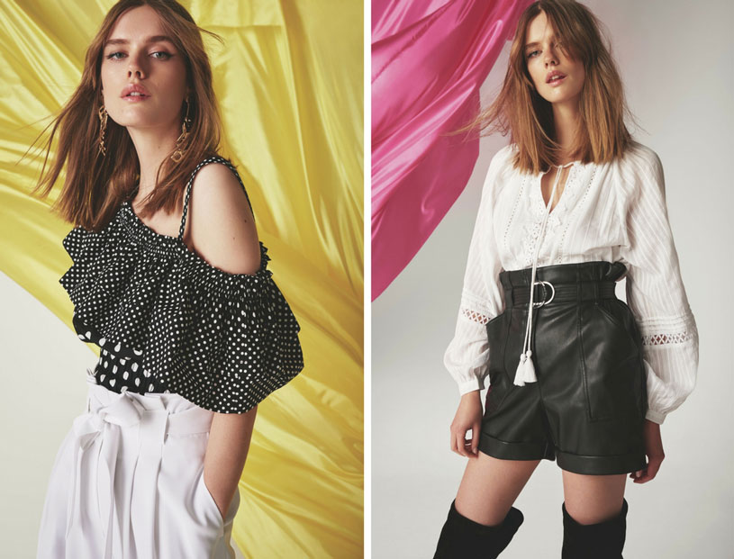 Gorgeous black and white combinations of tops with high waisted pants and shorts respectively in these two images of two models. Images by River Island.