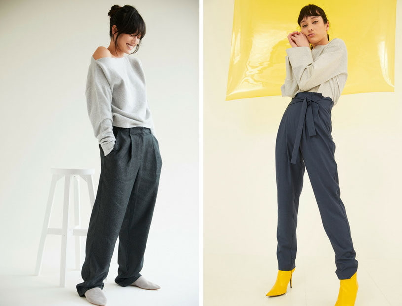 High waisted pants worn by a model in two ways - casual with a grey Bardot sweat or a top with yellow funky ankle boots. Both images by Oliver Bonas.
