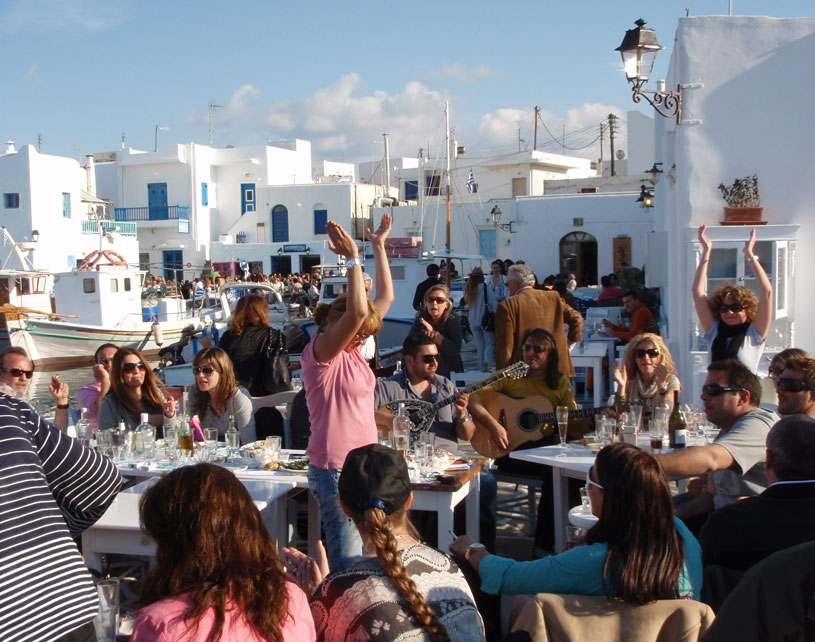 Celebrating on Easter Sunday outdoors in Naoussa of Paros.