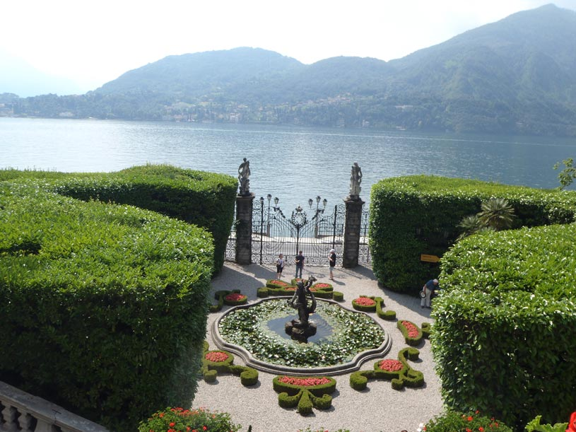 View of Lake Come from the Villa Carlotta with partial view of its beautiful gardens.