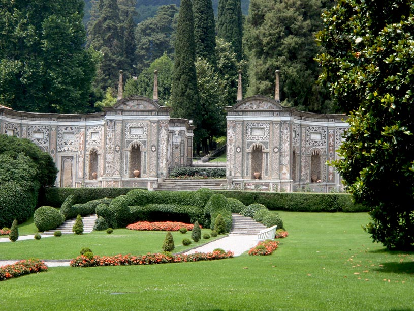 View of the gardens at the Ville d' Este well known for its exclusive weddings.