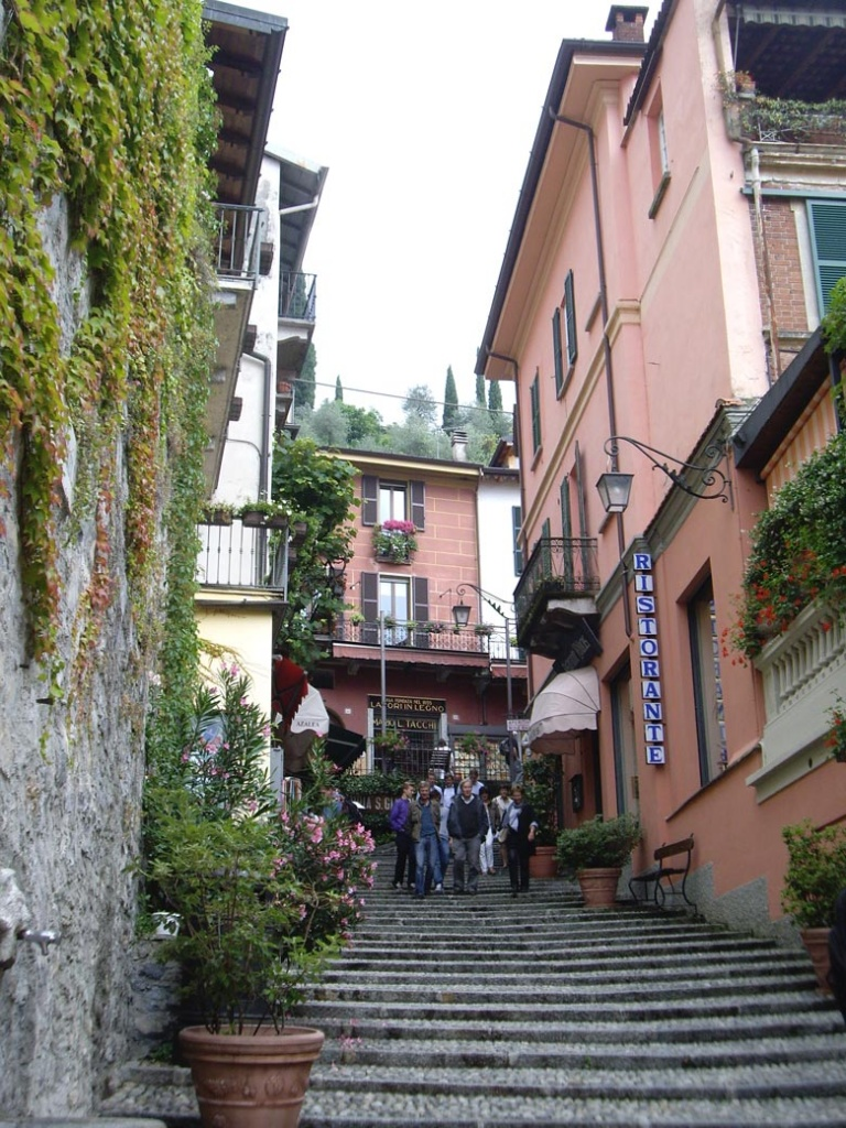 While wondering in the streets of Como. View of the stairs up an alley.