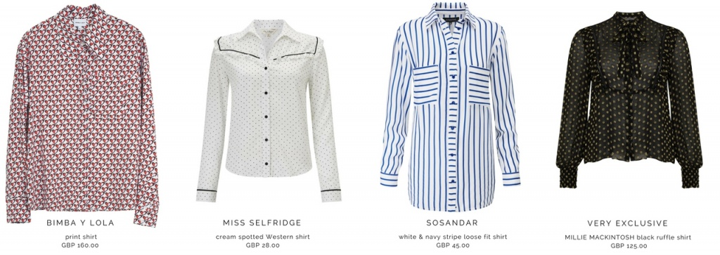 Four different trendy shirts from Bimba Y Lola, Miss Selfridge, Sosandar, Very Exclusive. (Order from left to right).