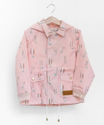 A child's pink raincoat with hot air balloon print