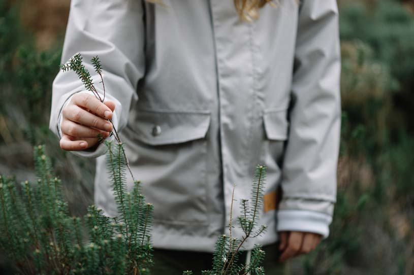A young girl wearing a light grey raincoat in nature holding a small green branch.