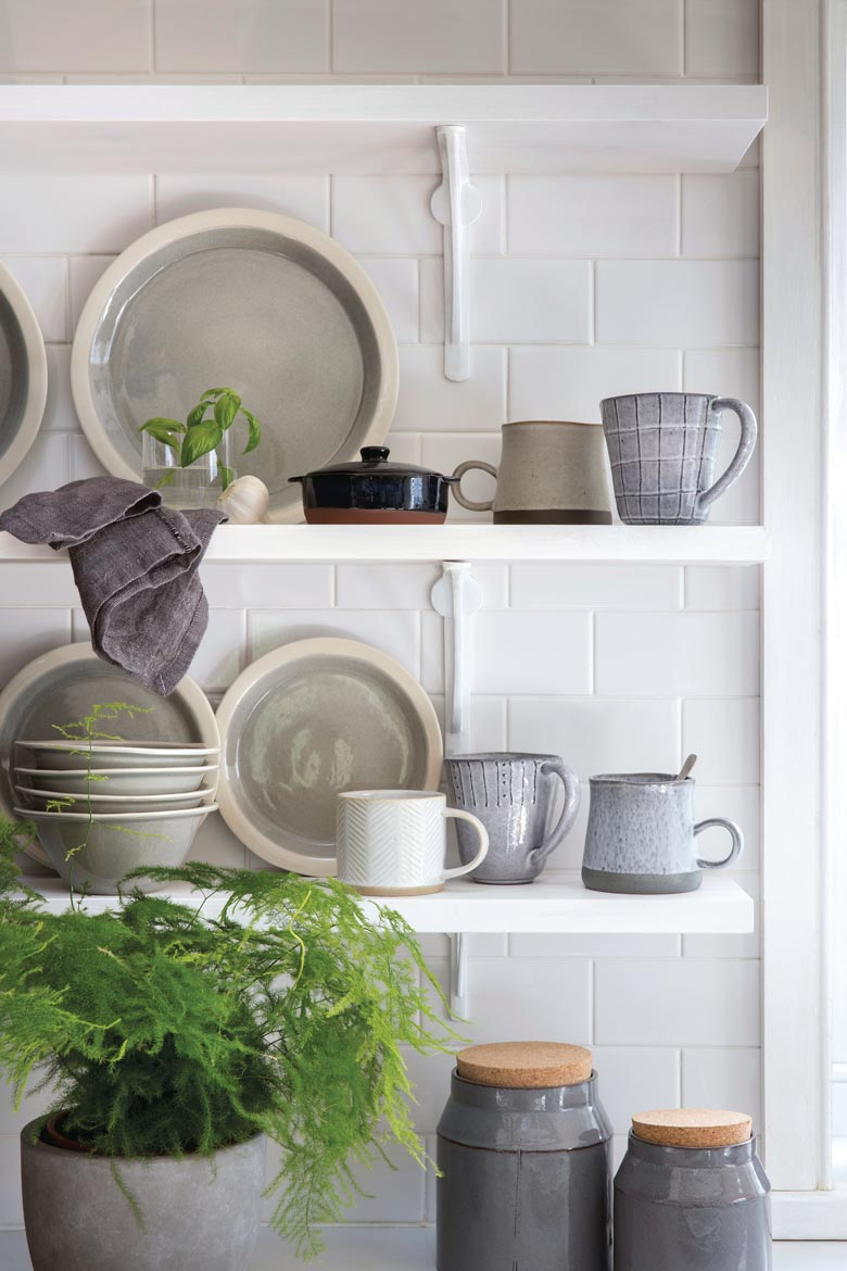 Kitchen shelves filled with dinnerware, looking pretty thanks to a plant. Image by House of Fraser.