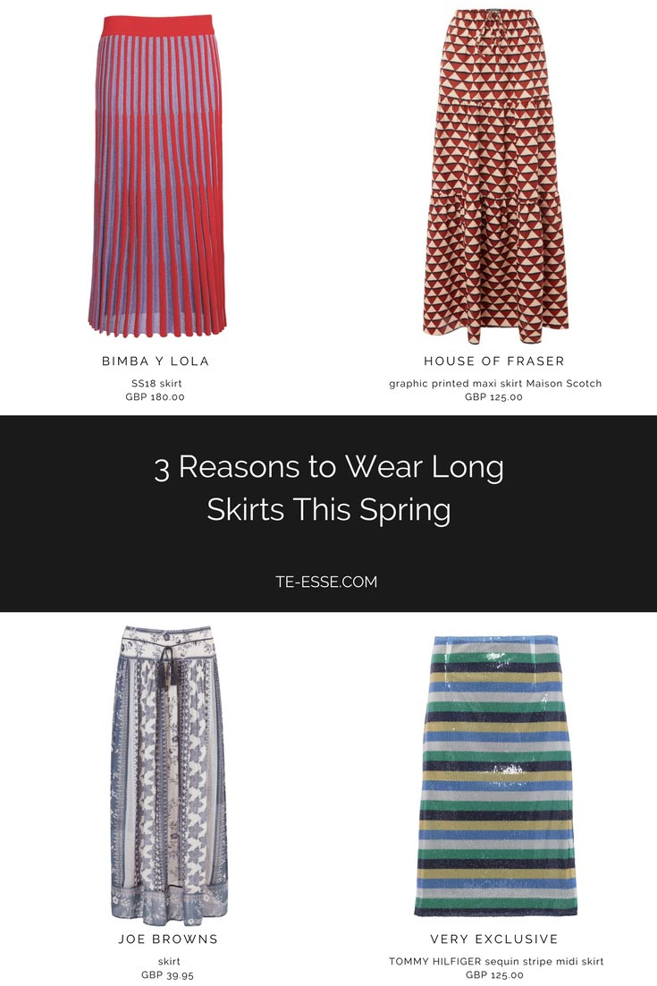 4 different long skirts from Bimba Y Lola, House of Fraser, Joe Browns and Very Exclusive Tommy Hilfiger.