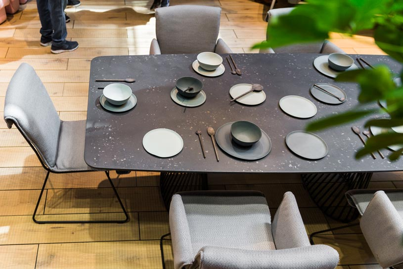 A dining setup from DeSede at Milan's Furniture Fair. Image by Luca Fiammanghi.