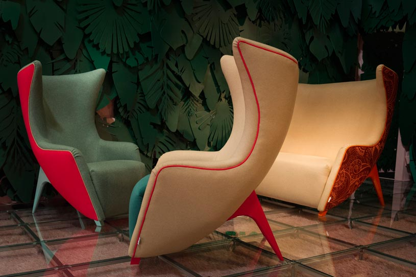 Impressive armchairs with a statement shape by Adrelina. Image by Alessandro Russotti.