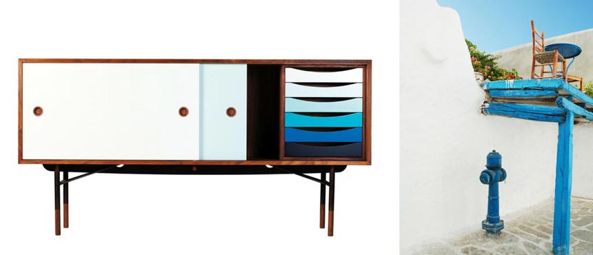 A House of Finn Juhl Sideboard looking amazing with its wooden tall legs and shades of blue arranged as a gradient. Image by Nest.co.uk. On the right, an image of a white washed house on a Greek island with a blue pergola, a blue hydrant next to the house's external wall and a round blue table with a chair on the terrace above.