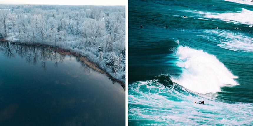 Left image of a winter wonderland. A forest covered in snow next to a dark blue lake. Right image of a blue green sea with breaking waves and surfers riding them.
