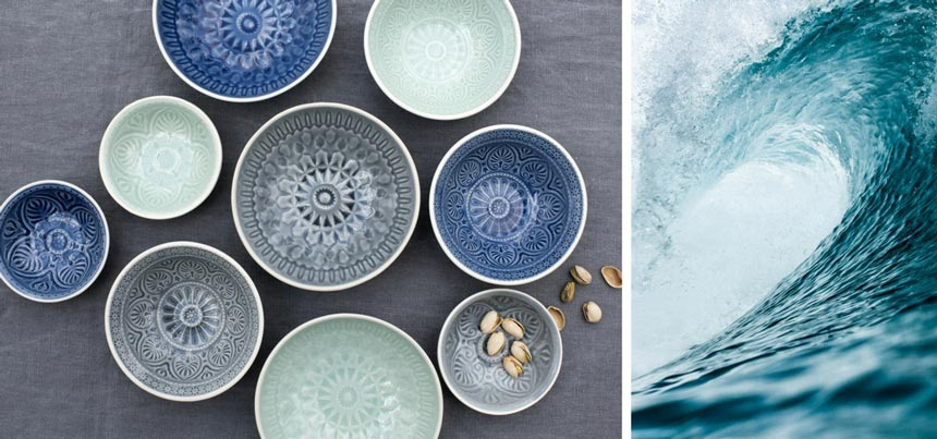 Left image of various really cool blue, mint and gray blue dipping Marrakesh styled bowls. Image by Rex London. Right image of an ocean wave just before it breaks.