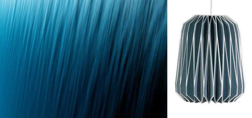 Left image of a deep blue sea ripples. On the right a cutout image of a French blue origami lamp shade. Right image by Cuckooland.