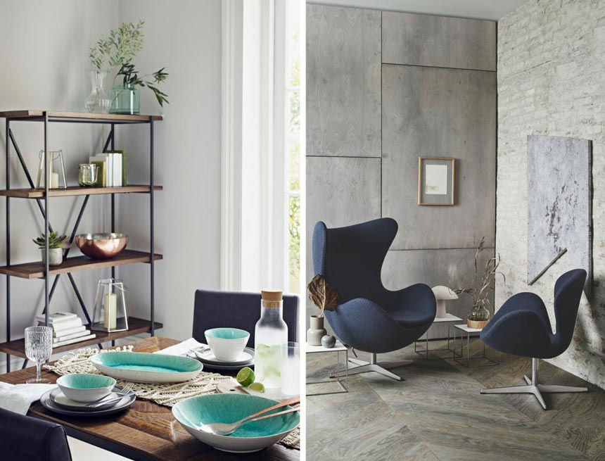 Left image of a stylish dining space with blue and turquoise accents via the seating and dinnerware. Image by M&S. Right image of blue Fritz Hansen Egg chair in a concrete grey nook. Talk about design envy.