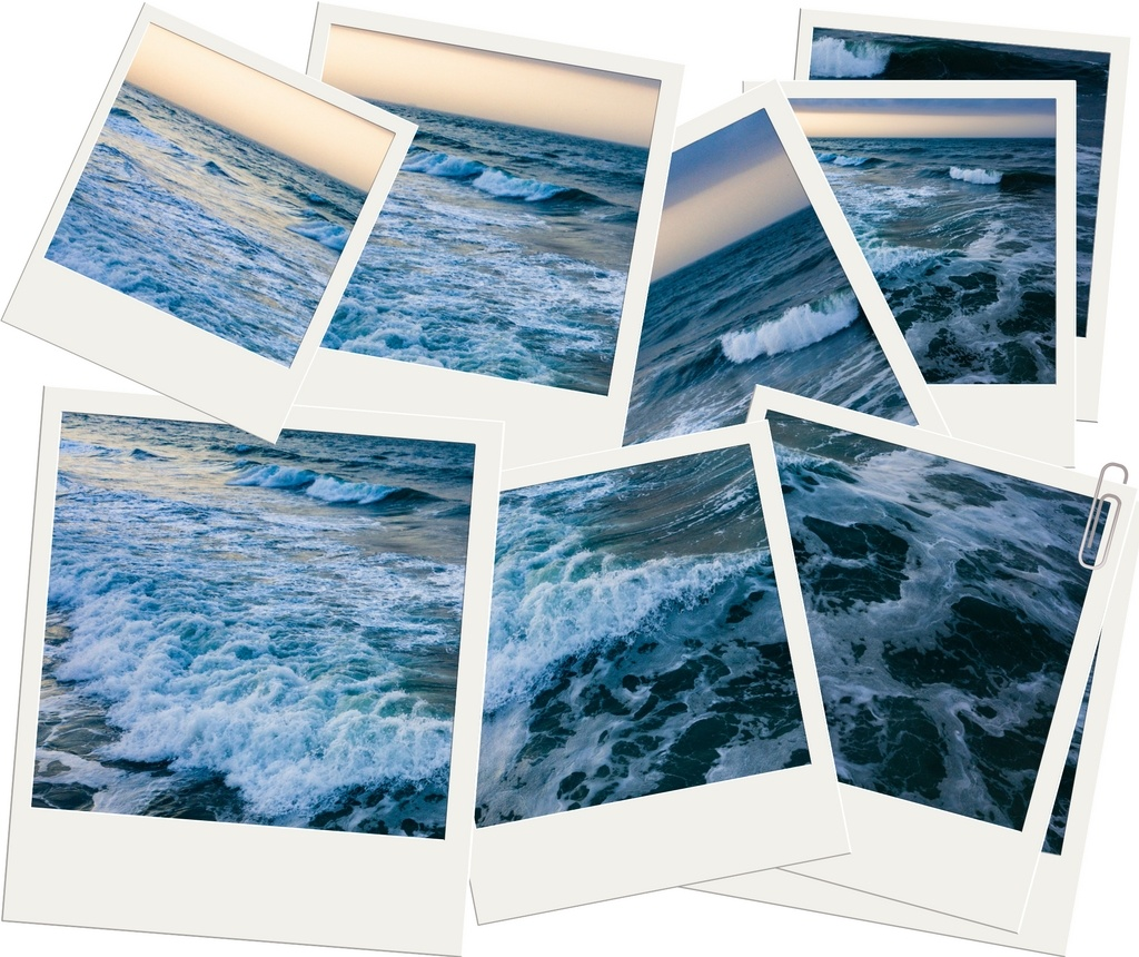 A bunch of polaroid photos of a seascape with breaking waves.