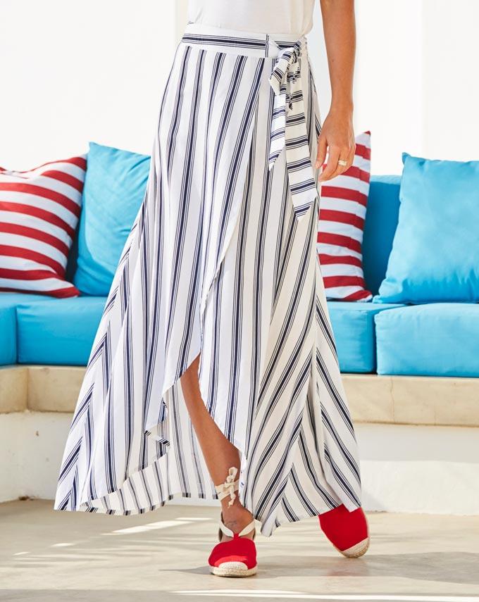 Detail of a black stripe on white long wrap skirt. Image by JDWilliams.