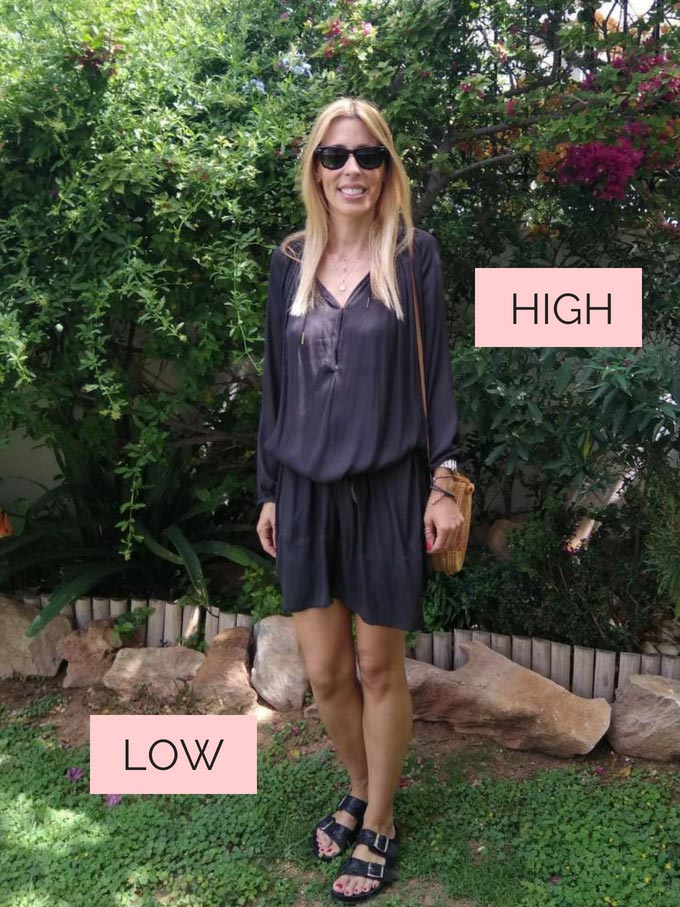 Elisabeth wearing a black mini shear dress, a round straw basket for a bag, both high key staples, and Birkenstock sandals as a low key staple with a garden in the background.