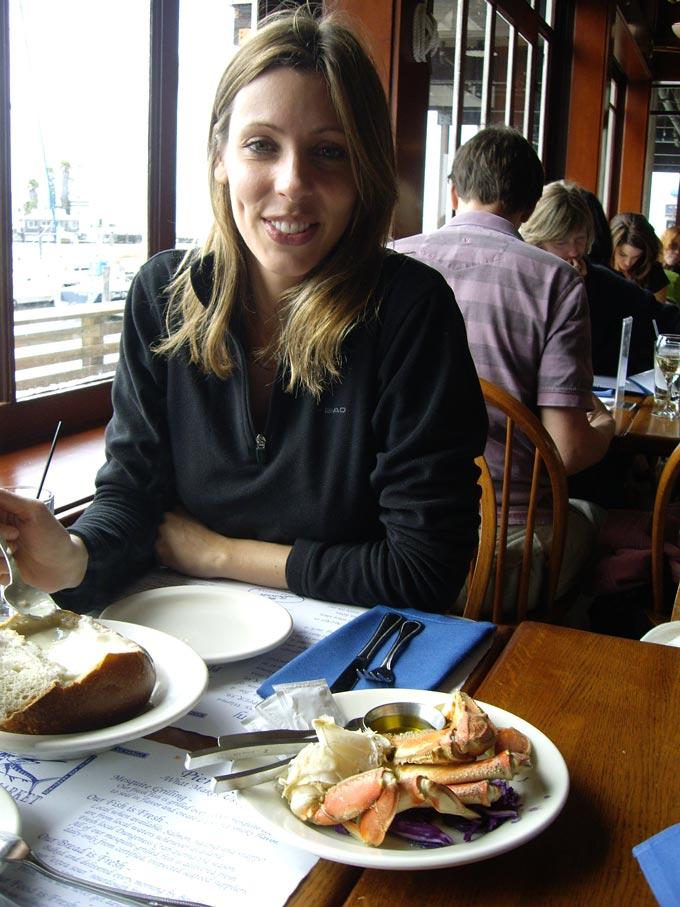 Elisabeth having clam chowder soup.