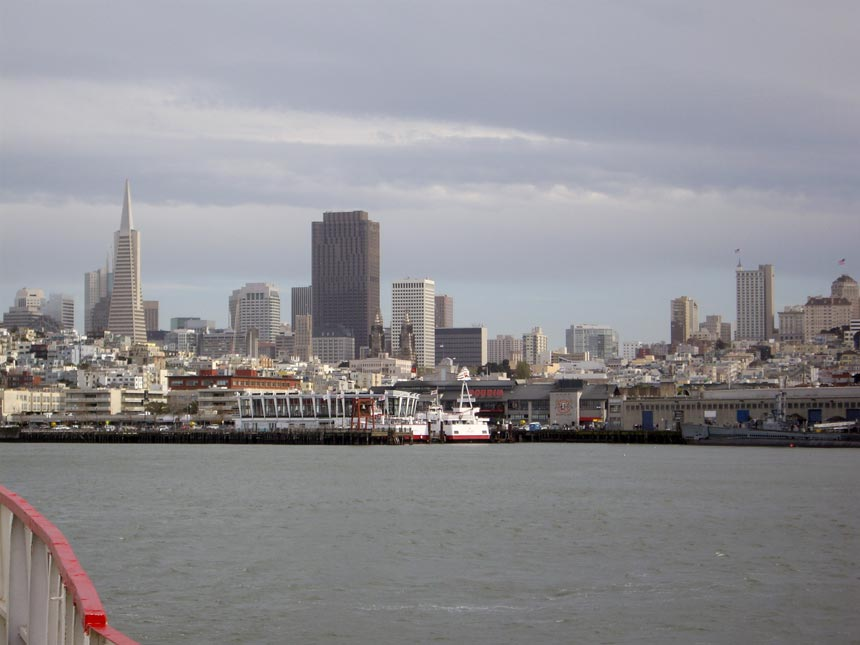 View of San Francisco from a boat.