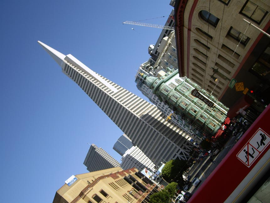 View of some historic buildings downtown in San Francisco.