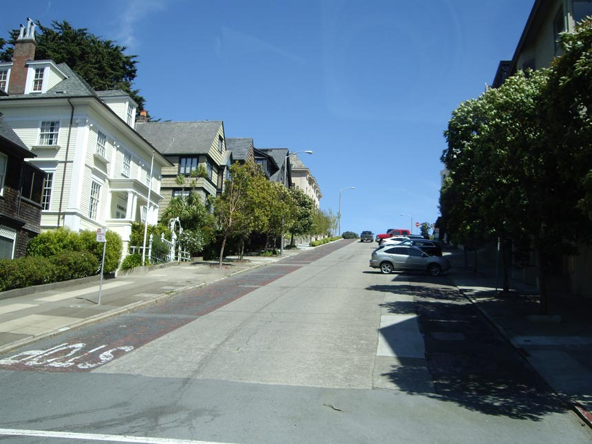 View of a San Francisco street with its characteristic uphill incline.