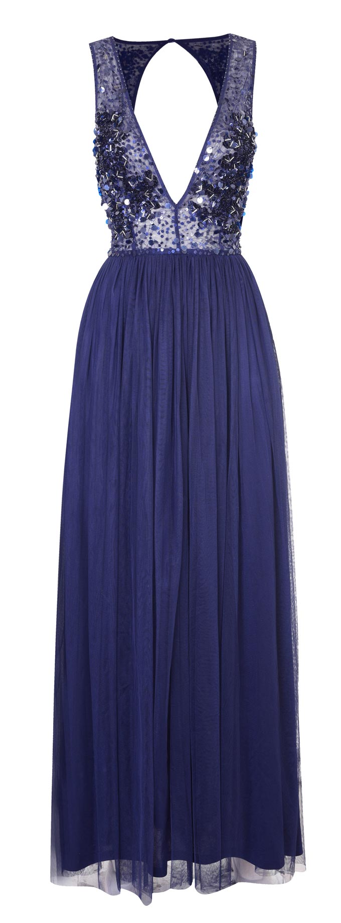 An cobalt blue dress with a sexy neckline. Image by Debenhams.