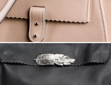 """Top: Detail of the small soft bag. Bottom: Detail of the """"feather edition"""" of the small soft RIEN bag."""