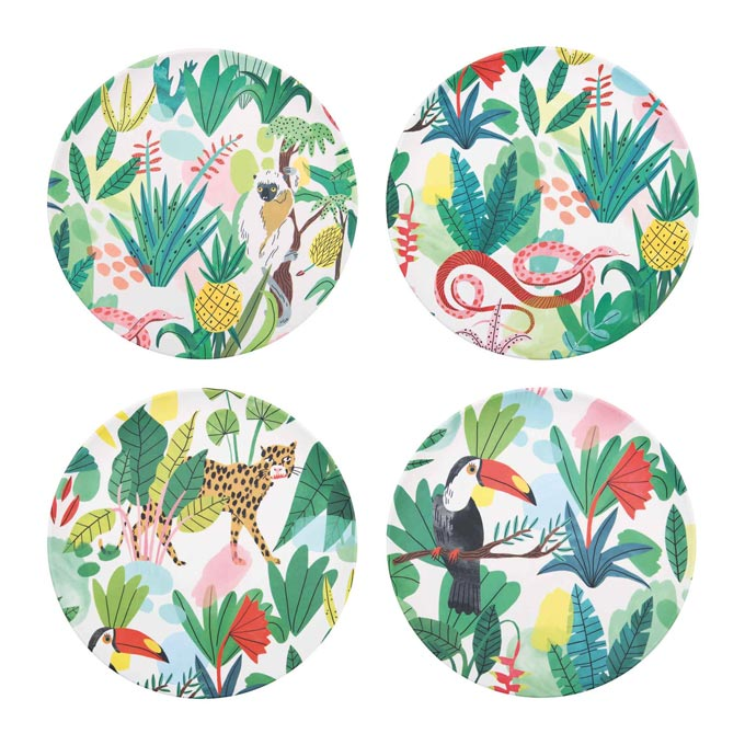 A set of four bamboo plates with a tropical theme. Image by Amara.