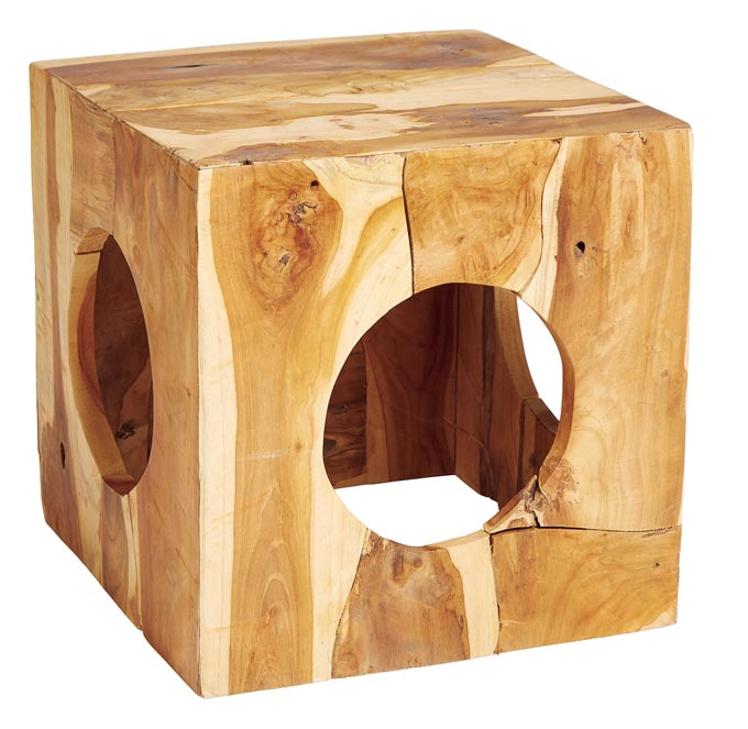 A wooden cube that serves as a side table by Homesense. Image by Homesense.