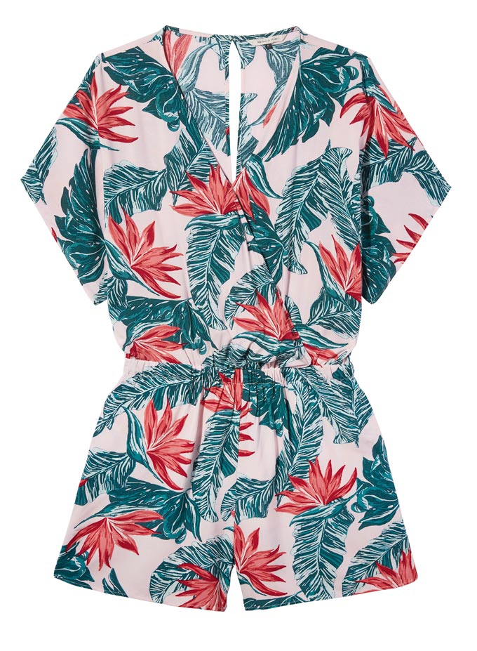 A tropical pattern print playsuit. Image by House of Fraser.