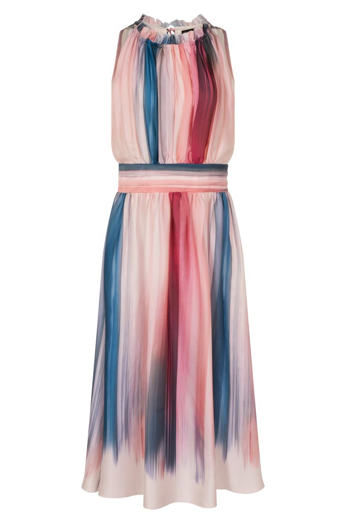 A knee length dress with blue, pink and red stripes. Image by Little Mistress.