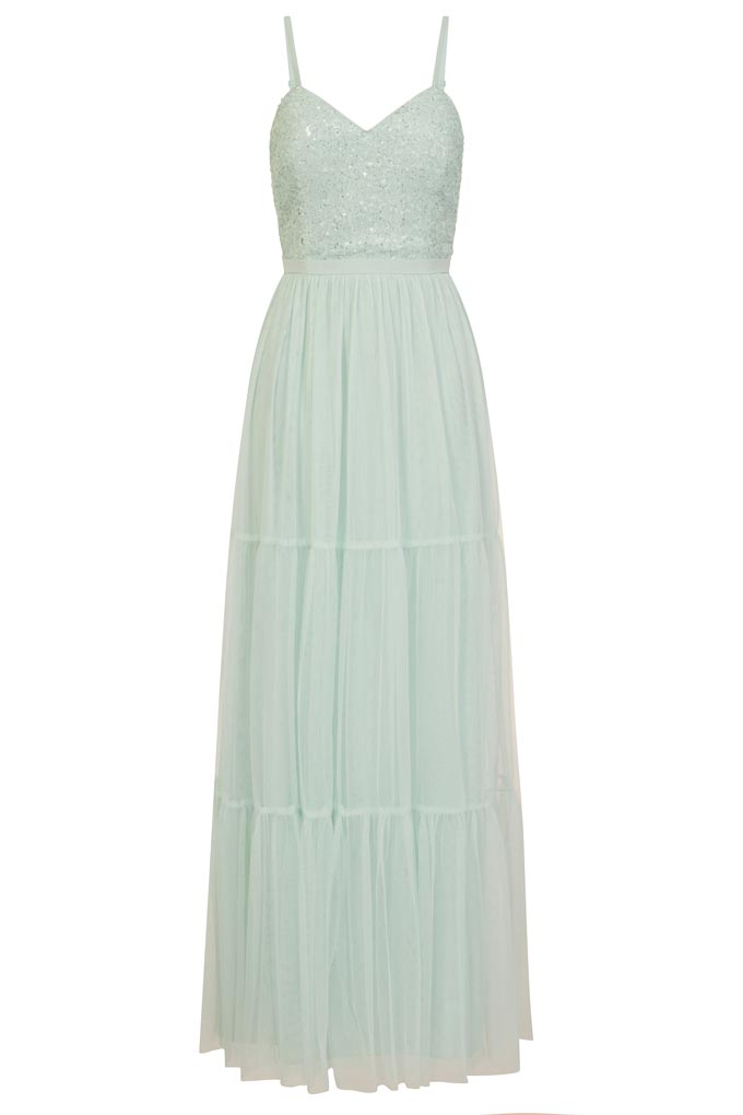 A cutout image of a wedding guest maxi dress in a pale blue color and spaghetti straps. Image by Little Mistress.