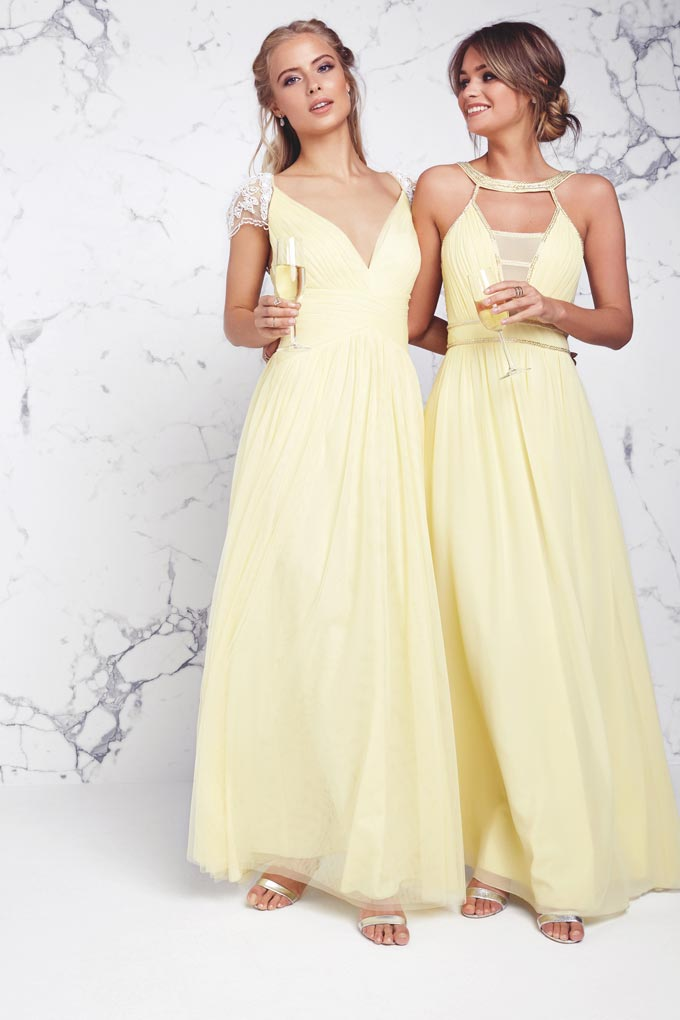 Two bridesmaids dressed in soft yellow maxi dresses. Image by Little Mistress.