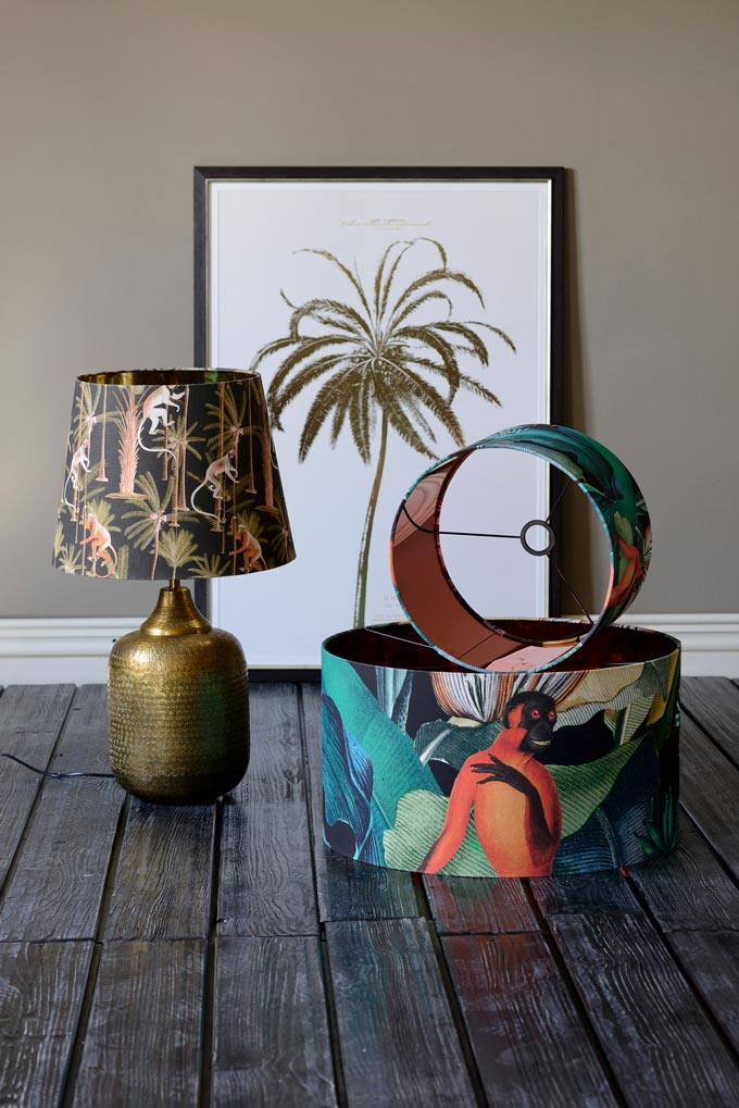 Lamp shades with a tropical theme. How cool is that?! Image by Mind The Gap.