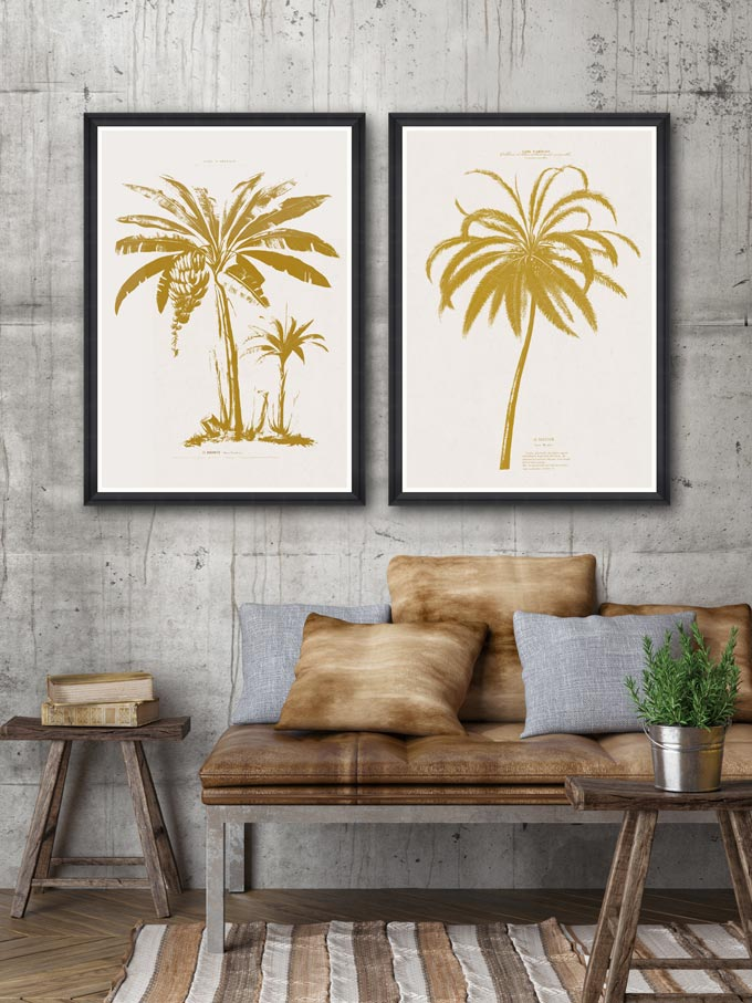 Two modern frames with a tropical theme images are a cool way to add tropical accents. Image by Mind the Gap.