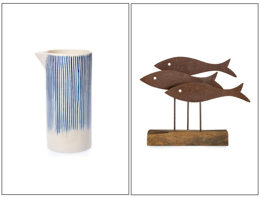 A white pitcher with blue streaks on the left and a three fish sculpture as decor on the right. Both images by National Trust.