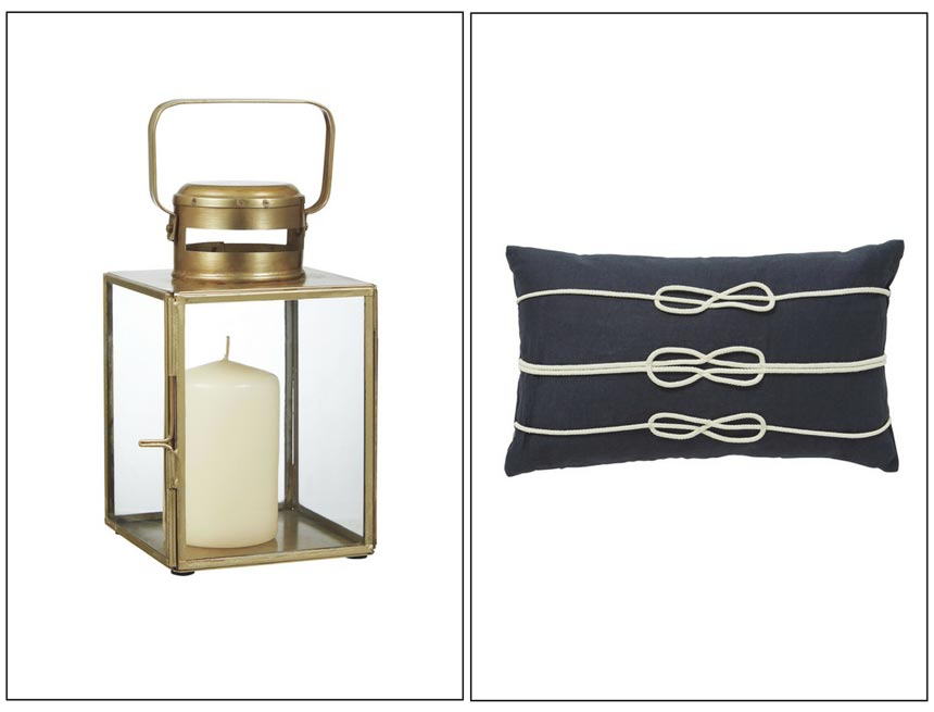 A brass lantern on the left and a navy blue cushion with a print of rope knots on the right. Both images by Home Sense.